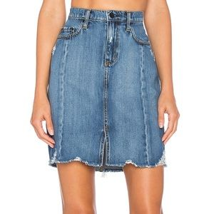 Distressed Ripped Frayed Hem Denim Skirt